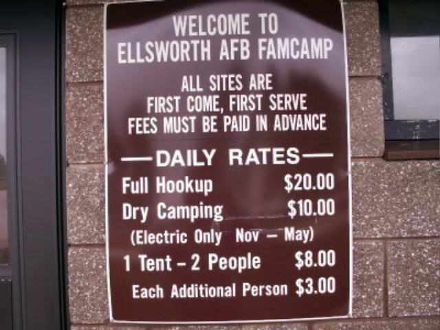 Ellsworth AFB FamCamp Prices