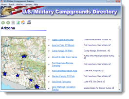 U.S. Military Campgrounds Directory Software Information!