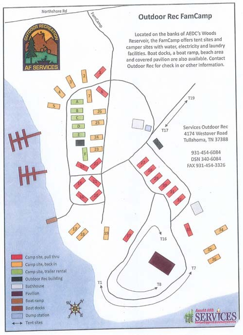 Camping In Tennessee Map.U S Military Campgrounds And Rv Parks Arnold Afb Famcamp